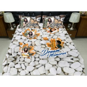 Personalized photo bed sheet with pillow cover set - design 004