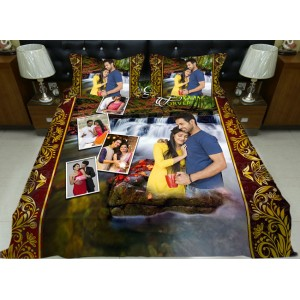 Personalized photo bed sheet with pillow cover set - design 006