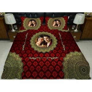 Personalized photo bed sheet with pillow cover set - design 007