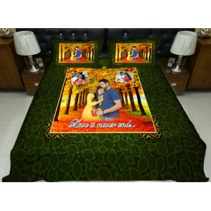 Personalized photo bed sheet with pillow cover set - design 008
