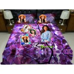 Personalized photo bed sheet with pillow cover set - design 009