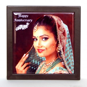 Personalized photo in a 6 X 6 inch Ceramic Tile with wooden frame
