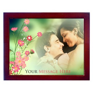 Personalized photo in a 8 X 10 inch Ceramic Tile with wooden frame