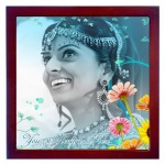 Personalized photo in a 8 X 8 inch Ceramic Tile with wooden frame
