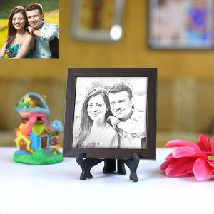 Personalized Photo sketch Tiles with Frame 4x4in