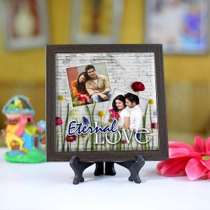 Personalized Photo Tiles with Frame Eternal Love