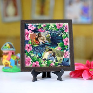 Personalized Photo Tiles with Frame Flower Border
