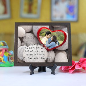 Personalized Photo Tiles with Frame Heart Stone