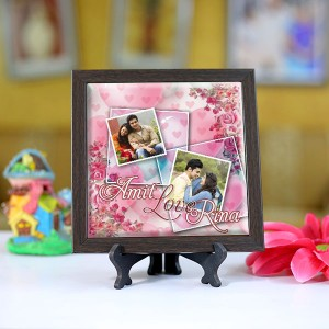 Personalized Photo Tiles with Frame Love couple