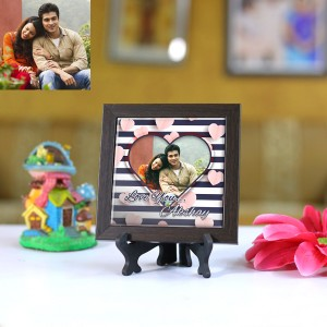 Personalized Photo Tiles with Frame Love you 01
