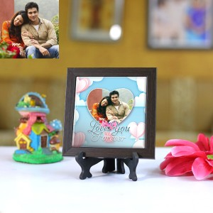 Personalized Photo Tiles with Frame Love you Forever