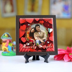 Personalized Photo Tiles with Frame Lovely Couple