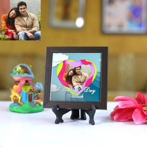 Personalized Photo Tiles with Frame Valentine day