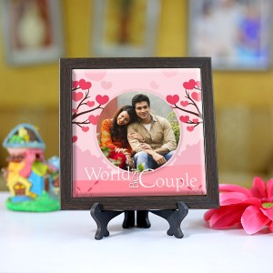 Personalized Photo Tiles with Frame World Best Couple