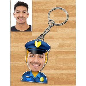 Personalized Police Caricature Key Ring