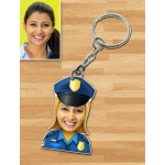 Personalized Police Female Caricature Key Ring