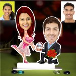 Personalized Proposing Couple Caricature Photo Stand In