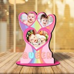Personalized Queen MDF cutout photo collage stand