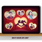 Personalized Rectangular 5 Photo in hearts Design glow in dark LED frame