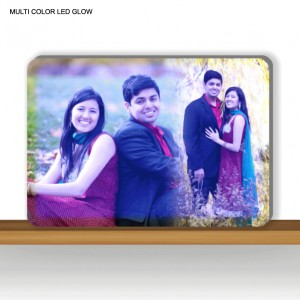 Personalized rectangular multi color glow in dark LED frame