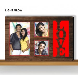 Personalized red LOVE glow in dark LED frame