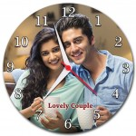Personalized round wall clock with picture and message