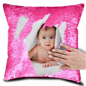 Personalized Sequin Cushion Pink Magic Reveal Photo