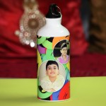 Personalized sipper bottle with multi color smiley design