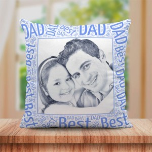 Personalized Sketch Canvas Cushion with Best Dad Border (16X16)