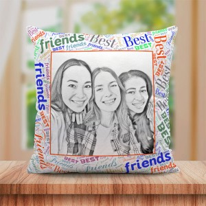 Personalized Sketch Canvas Cushion with Best Friends Border (16X16)