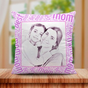 Personalized Sketch Canvas Cushion with Best Mom Border (16X16)