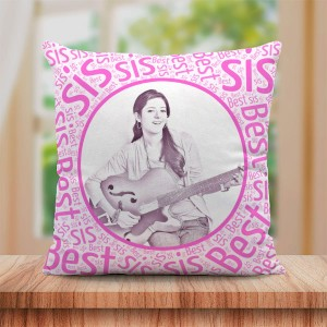Personalized Sketch Canvas Cushion with Best Sis Border (16X16)