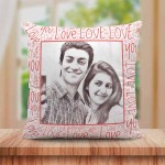 Personalized Sketch Canvas Cushion with Love You Border (16X16)