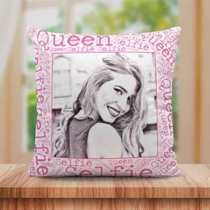 Personalized Sketch Canvas Cushion with Selfi Queen Border (16X16)