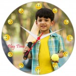 Personalized smiley dial round wall clock