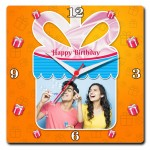 Personalized square wall clock birthday gift orange design