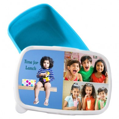 Personalized tiffin box for Kids with photo and message - Blue color