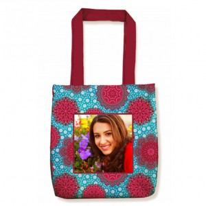 Personalized Tote Bag with design and Photo Blue and Maroon