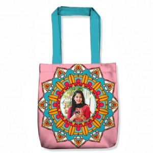 Personalized Tote Bag with design and Photo Pink and Blue