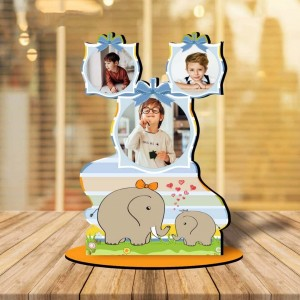 Personalized Two Elephants MDF cutout photo collage stand