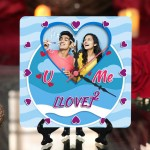 Personalized U and Me Love square table clock