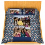 Personalized velvet bed sheet with pillow cover set - blue and multicolor