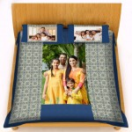 Personalized velvet bed sheet with pillow cover set - blue design