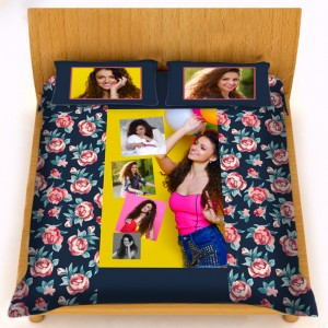 Personalized velvet bed sheet with pillow cover set - blue pink rose
