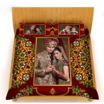 Personalized velvet bed sheet with pillow cover set - Maroon design