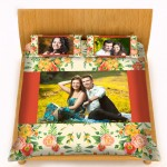Personalized velvet bed sheet with pillow cover set - orange and muticolor flower