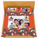 Personalized velvet bed sheet with pillow cover set - orange