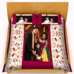 Personalized velvet bed sheet with pillow cover set - peach flower design