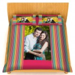 Personalized velvet bed sheet with pillow cover set - Pink and multi-color