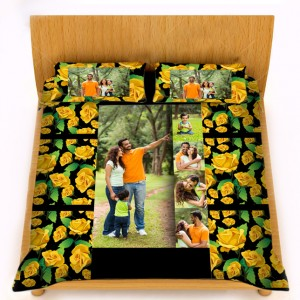 Personalized velvet bed sheet with pillow cover set - yellow flower design